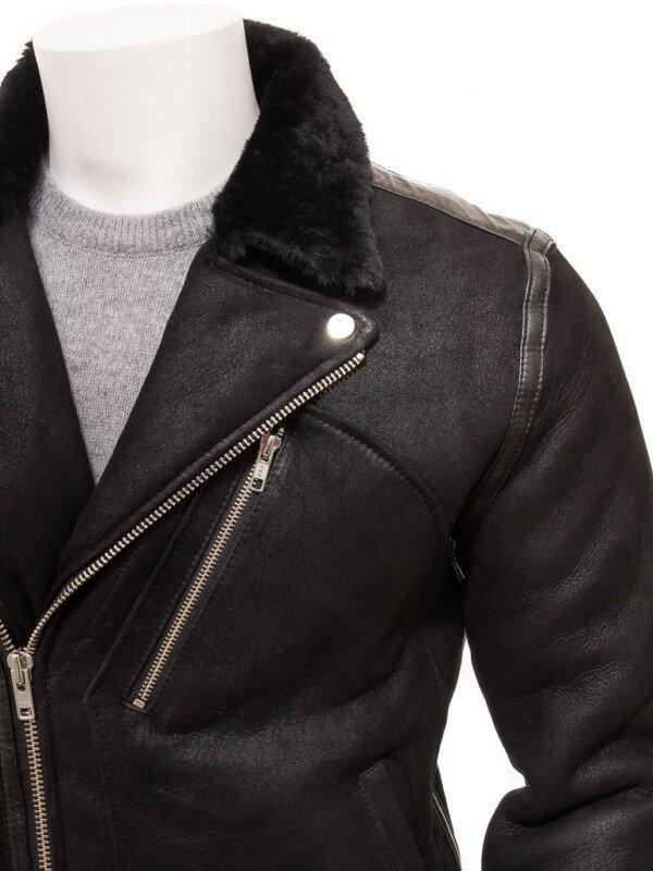 Black Shearling Fur Leather Jacket For Mens