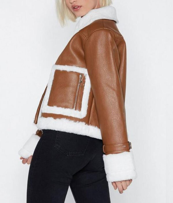 Brown Cropped Womens Aviator Leather Jacket