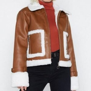 Womens Brown Aviator Cropped Leather Jacket