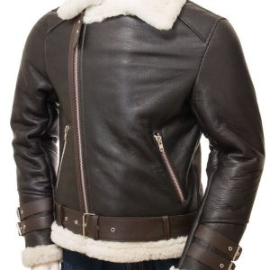 Brown Shearling Biker Jacket