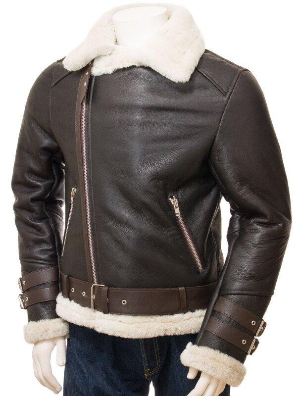 Brown Shearling Biker Jacket