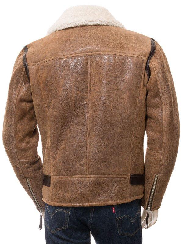 Brown Sheepskin Biker Jacket