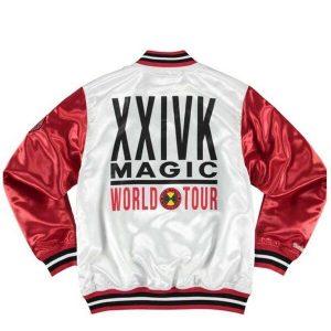 Bruno Mars 24k Satin Red and White Jacket