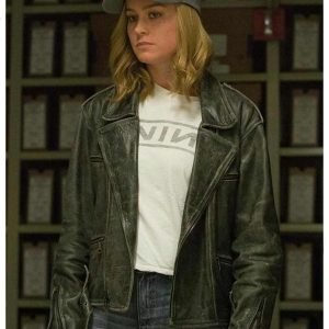 Brie Larson Captain Marvel Biker Black Leather Jacket