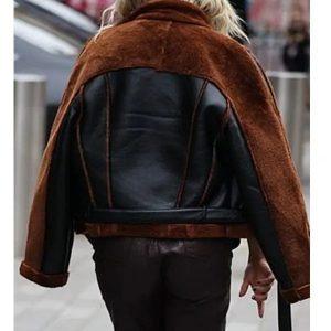 Ashley Roberts Christmas Shearling Aviator Jacket