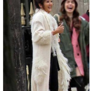 Emily In Paris Ashley Park Coat - Mindy Chen White Fur Coat for Sale