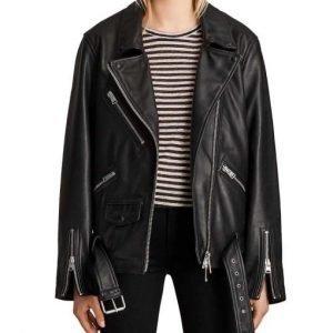 Camille Razat Emily In Paris Black Leather Motorcycle Jacket