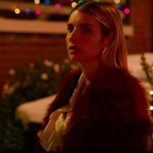Holidate Sloane Red Fur Emma Roberts Coat