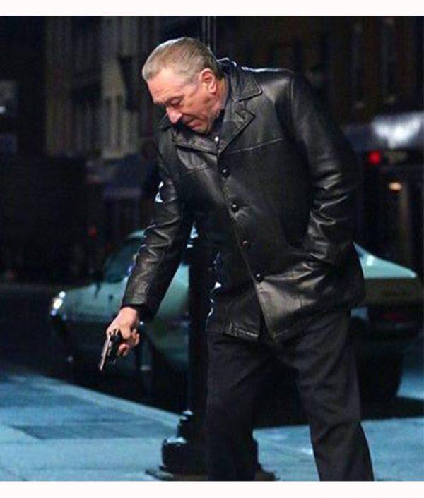 Robert De Niro The Irishman Frank Black Leather Blazer