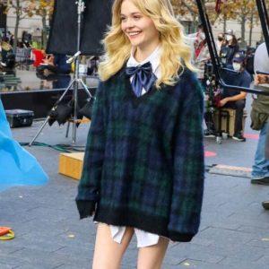 Audrey Gossip Girl 2021 Emily Alyn Lind Plaid Sweater