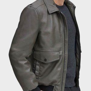 Grey Genuine Bomber Leather Jacket