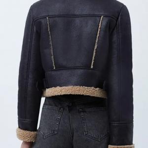 Kelly Brook Heart Radio Studios Black Cropped Shearling Jacket