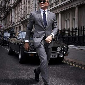 Daniel Craig Pinstripe No Time To Die James Bond Grey Suit