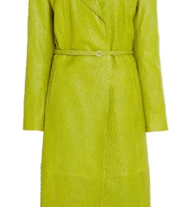 Keeping Up With The Kardashians Green Trench Leather Kylie Jenner Coat