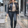Heart Radio Studios Kelly Brook Leather Shearling Jacket Kelly Brook Jacket