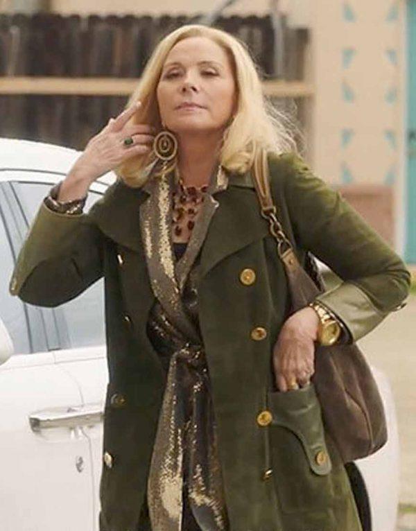 Kim Cattrall Filthy Rich Margaret Monreaux Green Suede Coat
