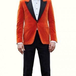 Eggsy Taron Kingsman The Golden Circle Orange Tuxedo Jacket Suit