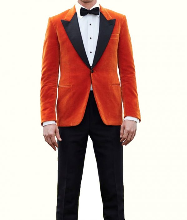 Eggsy Taron Kingsman The Golden Circle Orange Tuxedo Jacket Suit