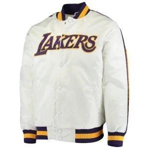 Men's Starter White Los Angeles Lakers Satin Varsity Jacket