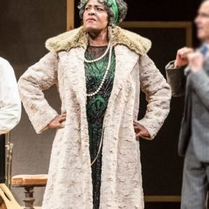 Viola Davis Black Bottom Coat with Shearling Collar | Ma Rainey's