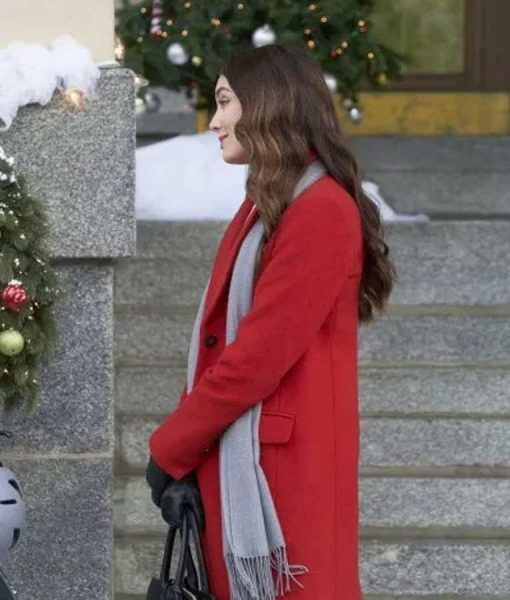 Mallory Jansen On The 12th Date of Christmas Red Trench Jennifer Coat