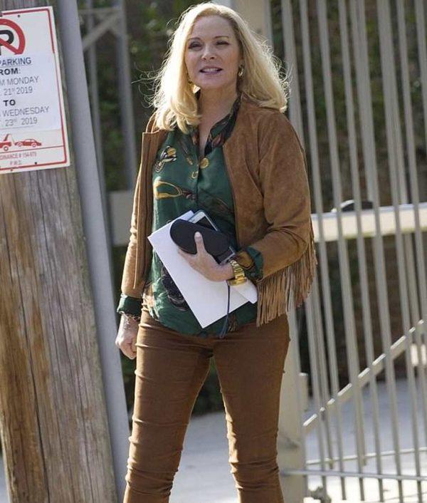 Margaret Monreaux Filthy Rich Kim Cattrall Suede Leather Fringe Jacket