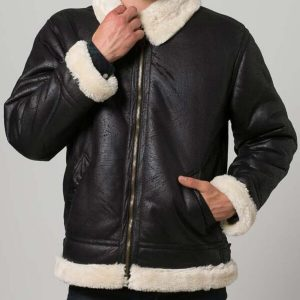 Mens Aviator Black Fur Shearling Jacket