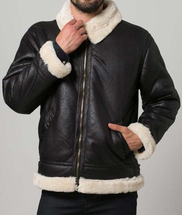Mens Aviator Black Fur Shearling Jacket