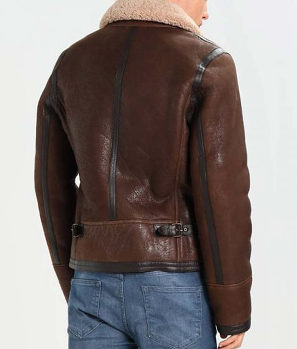 Mens Aviator Style Dark Brown Shearling Leather Jacket