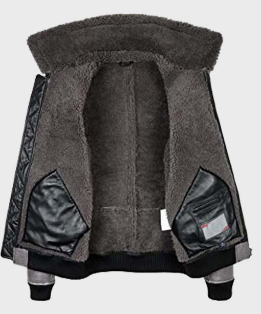 Aviator Grey B2 Shearling Bomber Genuine Leather Jacket for Mens