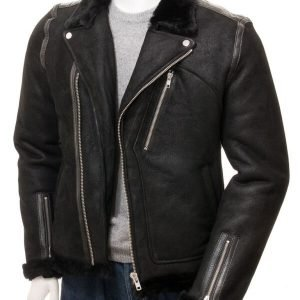 Men's Black Biker Shearling Leather Jacket