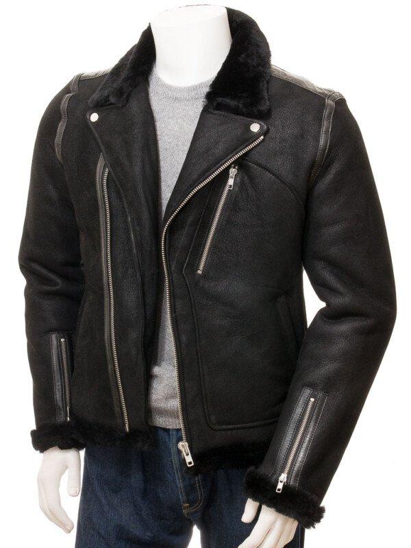 Men's Black Biker Shearling Leather Jacket