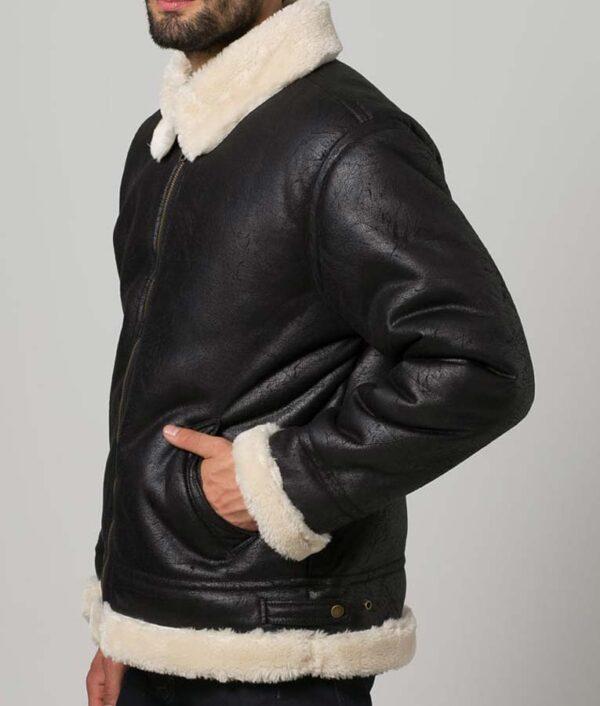 Mens Black Fur Aviator Shearling Jacket