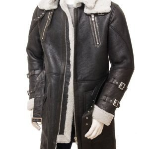 Mens Black Sheepskin Trench Coat