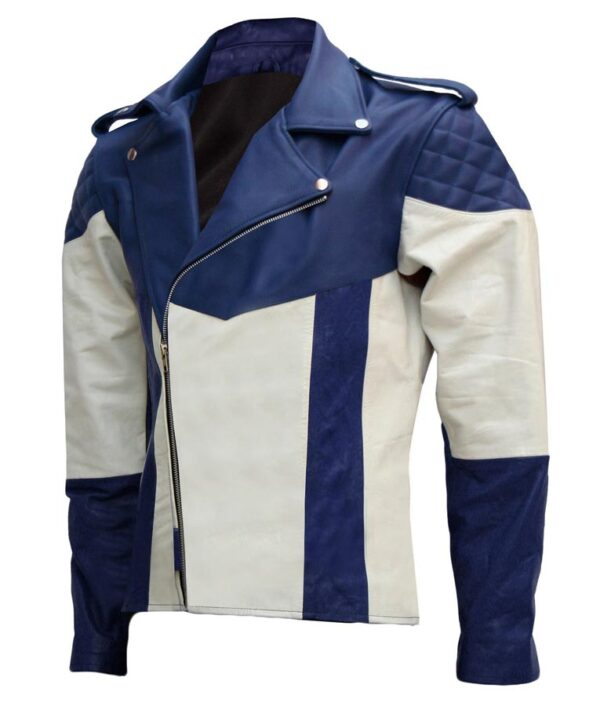 Mens Blue and White Biker Leather Jacket