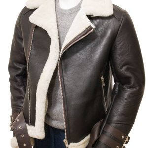 Men's Brown Shearling Biker Jacket