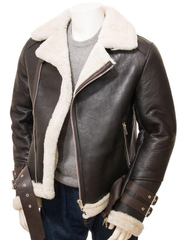 Men's Brown Shearling Biker Jacket