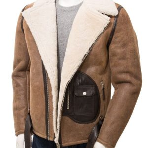 Men's Brown Sheepskin Biker Jacket