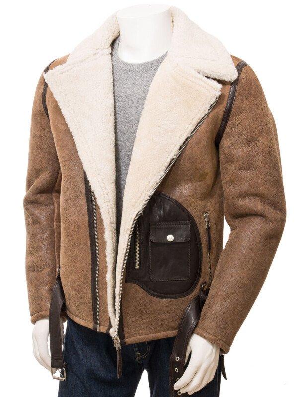 Men's Brown Sheepskin Biker Jacket