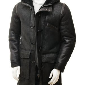 Mens Duffle Sheepskin Black Coat