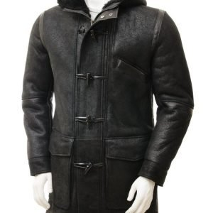 Mens Duffle Sheepskin Black Hooded Leather Trench Coat