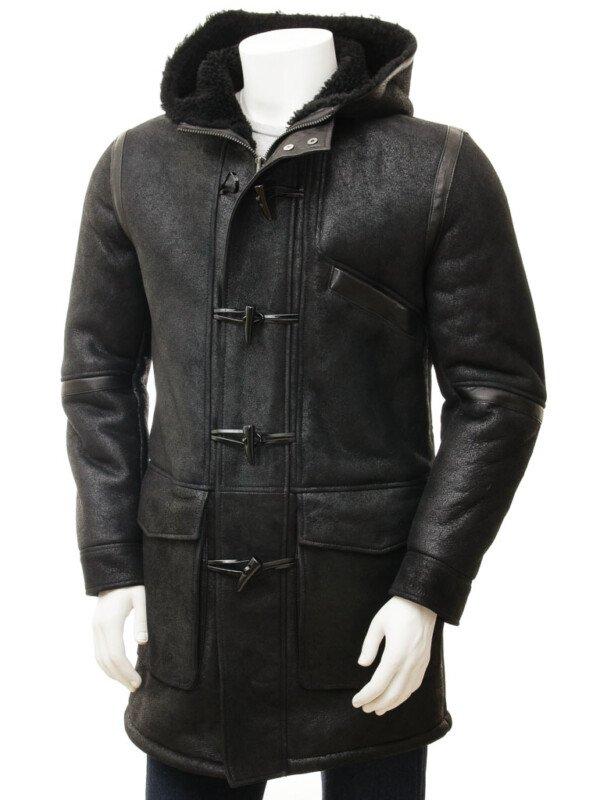 Mens Duffle Sheepskin Black Hooded Leather Trench Coat