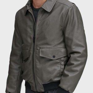 Mens Genuine Grey Leather Bomber Jacket