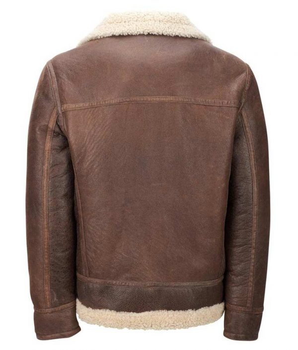 Mens Light Brown Aviator Faux Shearling Leather Jacket