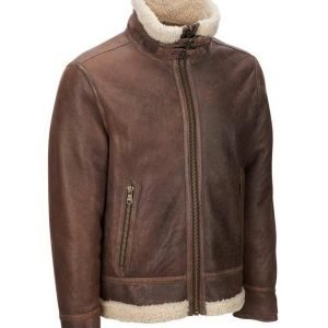 Mens Light Brown Aviator Shearling Leather Jacket For Mens