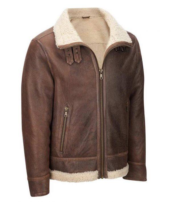 Mens Light Brown Shearling Aviator Jacket