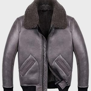 Mens B2 Aviator Shearling Grey Sheepskin REAL Leather Jacket