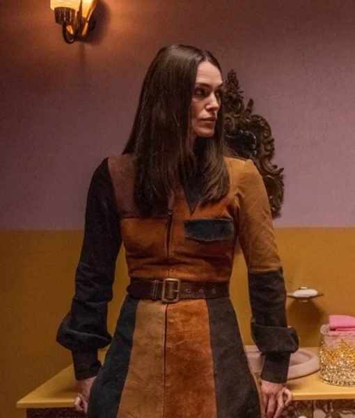 Keira Knightley Misbehaviour Sally Alexander Black & Brown Leather Coat