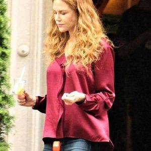 Nicole Kidman The Undoing Grace Fraser Maroon Silk Shirt