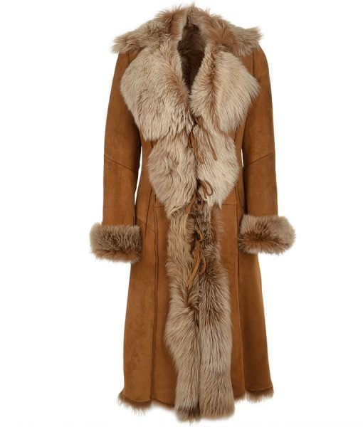 Novah Brown Fur Coat | Women's Long Suede Leather Fur Coat